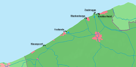 Map of the Belgium coast line and the lighthouses