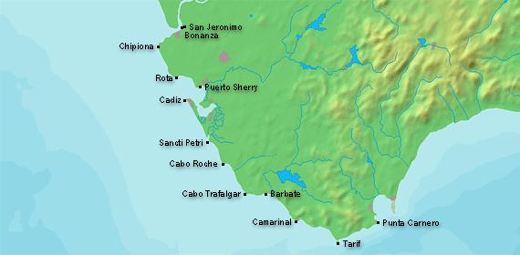 Costa De La Luz Spain Map.Leuchttuerme Net Andalucia Costa De La Luz De Cadiz Estrecho De